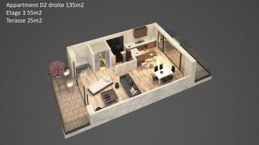 Appartement-Duplex D2 Droite d'une surface de +ou- 135m2 située au 2ème étage et retrait avec une entrée complètement séparée comme dans une maison, avec un accès par l'ascenseur directement dans le duplex desservant tout les étages. Le duplex comprend  2 salles de bains, 3 chambres à coucher. Au dernier étage un grand séjour, salle-à-manger-cuisine ouverte ( non équipée) traversante avec accès sur deux grandes terrasses et un WC séparé. Au sous-sol : une cave privative.  Vous pourrez acquérir un emplacement intérieur au prix de 30.000,00€ ou un emplacement extérieur au prix de 15.000,00€ à 3% de TVA inclus.  Le projet comprend 6 nouvelles résidences à toitures plates de style contemporain dans une rue calme et sans issue dans la ville de Tétange.   Les 6 résidences regroupent 16 logements en tout.  4 Résidences ont chacune  2 appartements et 1 penthouse sur deux niveaux par bâtiment, le sous-sol est commun aux 4 bâtiments. Les 4 résidences comprennent 24 emplacements intérieurs et 2 emplacements extérieurs.   Les 2 autres bâtiments ont 2 duplex chacun avec un sous-sol séparé pour les deux bâtiments qui disposent de 4 caves et de 4 emplacements intérieurs doubles. Les 4 duplex auront des entrées complètement séparés comme dans une maison.  Chaque appartement dispose d'une cave privé.   Les appartements sont spacieux et lumineux disposant de 2 à 3 chambres à coucher avec une voir 2 terrasses par appartements.  Les appartements situés au rez - de - chaussée dispose d'un jardin privé.  Chaque détail a été ici pensé afin de proposer aux futurs occupants un confort de vie optimal.  Des équipements et matériaux haut de gamme sélectionnés avec le plus grand soin, des espaces extérieurs comme des terrasses et jardins privés pour les appartements au rez-de-chaussée et des terrasses avec une vue dégagée pour les biens aux étages supérieurs ..