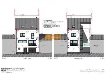 Construction d\'une nouvelle maison  au centre de la Ville d\'Esch/Alzette.<br>La maison se compose de:<br><br>Au Rez-de-chaussée :<br>Hall d\'entrée, grand garage pour 2 voitures, cave, buanderie, WC séparé et jardin<br><br>Au 1er étage:<br>Palier, grand Living (+/- 37.52m2) avec accès à la terrasse et cuisine ouverte<br><br>Au 2ième étage:<br>Palier, 3 chambres à coucher et salle de bain<br><br>Sous-toit :<br>Combles aménageables<br><br>Prix affiché avec 3%TVA!<br><br>La maison est située dans une rue calme d\'Esch/Alzette à quelques pas de la rue de l\'Alzette (plein centre de la Ville)<br>