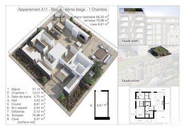 -- FR --  Lot A11 - Surface utile 153,97 m2 - Penthouse-Terrasse, de 68,20 m2 habitable, 76,96 m2 de terrasse, au sixième étage avec ascenseur dans la Résidence OPUS à Differdange. il se compose comme suit: Hall d'entrée, toilette séparée, séjour, salle à manger, cuisine ouverte, balcon débarras (Cellier), hall de nuit, 1 chambre à  coucher (13,01 m2), salle de bain. Au split-level un emplacement intérieur et au sous-sol une cave privatif de 8,81 m2. Possibilité d'acquérir en option: une cuisine équipée. Pour de plus amples renseignements contactez Christine SIMON Tel: 621 189 059 ou 26 53 00 30 ou par mail: cs@christinesimon.lu. Ref agence :A11- Bloc A - Penthouse