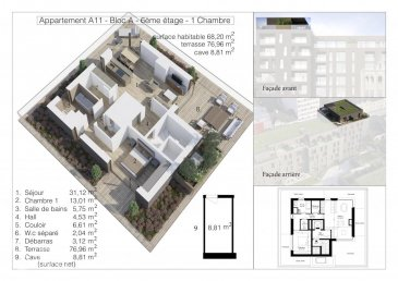 Lot A11 - Surface utile 153,97 m2 - Penthouse-Terrasse, de 68,20 m2 habitable, 76,96 m2 de terrasse, au sixième étage avec ascenseur dans la Résidence OPUS à Differdange. il se compose comme suit: Hall d'entrée, toilette séparée, séjour, salle à manger, cuisine ouverte, balcon débarras (Cellier), hall de nuit, 1 chambre à  coucher (13,01 m2), salle de bain. Au split-level un emplacement intérieur et au sous-sol une cave privatif de 8,81 m2. Possibilité d'acquérir en option: une cuisine équipée. Pour de plus amples renseignements contactez Christine SIMON Tel: 621 189 059 ou 26 53 00 30 ou par mail: cs@christinesimon.lu. Ref agence :A11- Bloc A - Penthouse