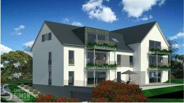 Appartement au premier étage d\'une surface habitable de 95,79 m2 et une belle terrasse de 8,74 m2, qui se compose comme suit: Hall d\'entrée, toilette séparée, séjour avec cuisine ouverte de 40,84 m2, accès terrasse, débarras , deux chambres à coucher de 12,25 et 14,10 m2 et une salle de bain. Au sous-sol une cave privative. Possibilité d\'acquérir 2 emplacements intérieurs au prix de 30 000 €/ htva.  et un emplacement extérieur au prix de 9 000 €/ htva. Prix des logements 3% TVA inclus, sous acceptation de l\'administration de l\'enregistrement.  Pour de plus amples renseignements n\'hésitez pas à contacter l\'Agence immobilière Christine SIMON au numéro 621 189 059 ou par mail au cs@christinesimon.lu - visitez notre site internet: www.christinesimon.lu  Nous sommes tout le temps à la recherche de maisons, appartements ou terrains pour nos clients, veuillez nous contacter pour estimer votre bien avant de le mettre en vente, estimation précise par un expert agréé si vous le souhaitez?  Ref agence :Appart 4- 1er étage