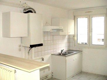 Appartement type F2 situé au RDC comprenant une cuisine,d'une entrée, d'un séjour, 1 chambre, une salle de bains, WC et débarras, chaudière individuelle au gaz