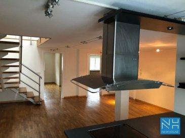 En plein cœur de Diekirch, au troisième et quatrième étages de cette résidence de 3 appartements, ce très beau duplex rénové vous séduira par sa luminosité et son potentiel d'aménagement.  A l'entréesur une surface de 95m2:   -Cuisine équipée ouverte -Living/salle à manger -2 grandes chambres -un grande salle de bains -un débarras  A l'étage:  -une grande pièce de ca. 65m2 pouvant être aménagée en living ou divisée 2 chambres supplémentaires avec salle de bains  Un parking public se trouve à quelques mètres en face et à proximité vous trouverez toutes les commodités.  Pour de plus amples information, contactez-nous sur contact@new-house.lu ou au 26.78.76.53