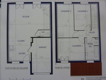 A Piedmont (Mont-Saint-Martin), dans un environnement calme, Nouveau lotissement, proche commodités, Maison jumelée, 1 garage 1 voiture, 2 places de parking, RDC: entrée, cuisine ouverte sur séjour (34.80m²), w-c (1.70m²), ETAGE:  3 chambres(9.6/12.4/12.5m²), SDB avec w-c (6.20m²),  palier (3.30m²),  sur 2.99 ares de terrain. Livraison prévue au 4èmeTrimestre 2022.