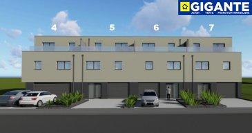 GIGANTE IMMOBILIERE vous propose :  Une belle maison unifamiliale jumelée (côté droite ) en future construction située sur un terrain de +/- 5.00 ares à Kayl dans la rue de Noertzange. NZEB (Nearly Zero Energy Building) - AAA  Ce nouveau complexe immobilier contient la création de 7 places à bâtir  LOT 7 . La maison est dotée d'une architecture moderne et contient une surface totale de 281 m2 qui se compose comme suit :  REZ DE CHAUSSE : - Double garage - Cave , chaufferie , hall ,wc séparé - Terrasse , jardin VUE SUR LES CHAMPS ETAGE 1 : - Cuisine avec sortie terrasse et accès jardin - Sejour - Débarras - Bureau / chambre - Hall ETAGE 2 : - 3 chambres a coucher - Terrase avant - Terrase arrière   Prix: 1.075.000.- – 3% TVA inclus * *) sous condition d'acceptation par l'Administration de l'Enregistrement  Construites avec des matériaux d'excellente qualité, la résidence est conçue pour vous offrir des pièces de vie avec de beaux volumes et beaucoup de luminosité grâce aux nombreuses baies vitrées.  Plans et cahier des charges disponibles sur demande.  Pour de plus amples renseignements, n'hésitez pas à contacter au numéro 691 183 835 ou à info@gigante.lu. Stefano GIGANTE  Commission d'agence à payer par le vendeur