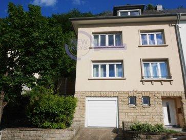 ENGLISH VERSION BELOW  New Keys vous propose cette charmante maison de ville située dans un cadre privilégié à Luxembourg-Weimerskirch. Weimerskirch est l?un des 24 quartiers de Luxembourg-ville. Il se trouve sur la montée Nord-Est de la ville de Luxembourg et relie la rivière Alzette au quartier de Kirchberg.  Erigée sur environ 8 ares de terrain et construite dans les années 1950, de nombreuses rénovations ont été faites tout en préservant le caractère la propriété : façade, triple vitrage (2012), chaudière gaz et adoucisseur d'eau (2019).  A la fois très lumineux et spacieux, ce bien d'exception se présente sur une surface totale d'environ 230m2 (175m2 habitables) répartie sur 3 étages comme suit:  1 Hall d'entrée 1 Salon / Séjour avec parquet bois en chevrons 1 Cuisine équipée  5 Chambres (environ 22m2, 14m2,13m2,18m2,15m2) 2 Salles de bains 1 WC séparé 1 Loggia donnant accès au jardin 1 Débarras 1 Buanderie 2 Pièces de Stockage 1 Garage avec porte motorisé  1 Emplacement extérieur  La propriété profite d'un splendide jardin paysagé sans vis-à-vis donnant accès à 3 terrasses, un abri de jardin, et un terrain de basket. Cet extérieur offre à la fois une vue imprenable et un accès direct sur la forêt.  A visiter rapidement.  N'hésitez pas à nous contacter au  352 691 216 830 ou par mail smarrocco@newkeys.lu pour plus d'informations ou une éventuelle visite.    COVID: Pour votre sécurité, nos visites sont effectuées avec des masques, des gants et limitées à 3 personnes par visite.   Les prix s'entendent frais d'agence de 3 % TVA 17 % inclus dans le prix et payable par le vendeur. Nous recherchons en permanence pour la vente et pour la location, des appartements, maisons, terrains à bâtir pour notre clientèle déjà existante. N'hésitez pas à nous contacter si vous avez un bien pour la vente ou la location. Estimation gratuites.   //ENGLISH//  New Keys suggest you this charming town house located in Luxembourg-Weimerskirch. Weimerskirch is one of the 24 districts of L