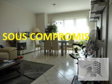 ***** SOUS COMPROMIS *****  Appartement avec une surface habitable de 81,20 m2 situé au 2ième étage, composé comme suit :  A l'étage : Hall d'entrée avec WC séparé, vaste et lumineux séjour, cuisine équipée indépendante, une salle de bain avec baignoire, lavabo et WC ainsi que deux chambres à coucher (15,50 et 14,50 m2), dont une donnant accès au balcon.  Le bien est complété au rez-de-chaussée par une cave et une buanderie commune.  A l'extérieur se trouve un garage fermé et un emplacement devant le garage.  La résidence se situe dans un quartier strictement résidentiel de Bonnevoie. Bonne connexion au réseau des transports en public. Accès facile au distributeur d'autoroute. Crèches, écoles et commerces à proximité.  Pour tous renseignements supplémentaires ou pour convenir un rendez-vous pour une visite, veuillez nous contacter par téléphone au (+352) 691 400 705 ou par mail : info@17b.lu