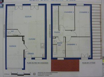 A Piedmont (Mont-Saint-Martin), dans un environnement calme, Nouveau lotissement, proche commodités, Maison jumelée, 1 garage 1 voiture, 2 places de parking, RDC: entrée, cuisine ouverte sur séjour (34.80m²), w-c (1.70m²), ETAGE:  3 chambres(9.6/12.4/12.5m²), SDB avec w-c (6.20m²),  palier (3.30m²),  sur 2.09 ares de terrain. Livraison prévue au 3èmeTrimestre 2022.