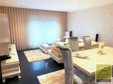 Ce superbe appartement vendu meublé et d'une superficie de  /- 87 m2 saura vous conquérir grâce à son mobilier de luxe (de la cuisine en marbre en passant par les poignées d'armoire, de tiroirs et les boutons de lit en diamant Swarovski).  La valeur du mobilier est estimée à environ 80.000 €.  L'appartement se compose comme suit:  - Hall d'entrée - Living ouvert sur la salle à manger - Cuisine indépendante - Chambre à coucher - Chambre à coucher avec accès au balcon - WC séparé - Salle de bain - Débarras - Grenier aménagé  - Cave privative - Buanderie commune - Emplacement intérieur - Local poubelle   Pour tout complément d'information, n'hésitez pas à nous contactez par téléphone au 28 77 88 22. Nous sommes également disponibles pour organiser les visites le samedi !  Nous sommes, en permanence, à la recherche de nouveaux biens à vendre (des appartements, des maisons et des terrains à bâtir) pour nos clients acquéreurs.  N'hésitez pas à nous contacter si vous souhaitez vendre ou échanger votre bien, nous vous ferons une estimation gratuitement.  Ref agence : 188