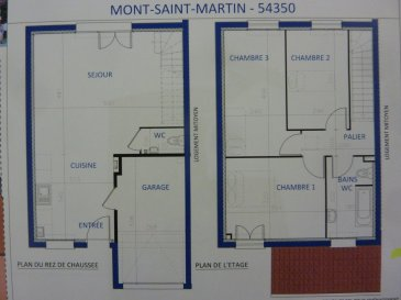 A Piedmont (Mont-Saint-Martin), dans un environnement calme, Nouveau lotissement, proche commodités, Maison jumelée, 1 garage 1 voiture, RDC: entrée, cuisine ouverte sur séjour (35.00m²), w-c (1.70m²), ETAGE:  3 chambres(9.6/12.5/12.5m²), SDB avec w-c (5.80m²),  palier (3.30m²),  sur 2.44 ares de terrain. Livraison prévue au 3èmeTrimestre 2022.