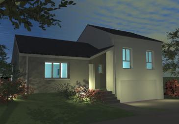 Maison en demi sous-sol. Surface Habitable: 107,56 m2 Grand garage pour 2 voitures de 39,18 m2  Sur un terrain de 6,50 ares de 20 m de façade, situé dans le lotissement