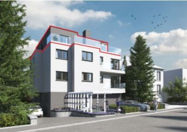 ****SOUS COMPROMIS****SOUS COMPROMIS  Au calme dans une petite rue, ce lumineux penthouse au 3ème et dernier étage d'un petit immeuble de 6 unités, avec un accès par un ascenseur privé est un bien rare à proximité de la ville de Luxembourg et du Kirchberg avec ses 2 terrasses de 25m² chacune sans vis à vis.   Il se compose d'une entrée de ± 6m²; d'un séjour de ± 34m² avec ses baies vitrées donnant sur une première terrasse de 25m² et une cuisine ouverte; de 2 chambres de ± 14 et 13m² avec un accès sur une des 2 terrasses; d'une salle de bain de ± 6m²; d'une buanderie; d'un WC séparé.   Généralités:   •Immeuble en construction (vente en état de future achèvement) 1er trimestre 2021   •Passeport énergétique A - A   •Emplacement au calme   •Proximité des transports, commerces, écoles et crèches     Prix : € 870.000, - (TVA à 3% compris) - après acceptation de l'administration de l'enregistrement et des domaines. Garage : €30.000 (TVA 3% compris)     Contact : Jimmy de Brabant +352 661 167 494 ou jimmy@vanmaurits.lu