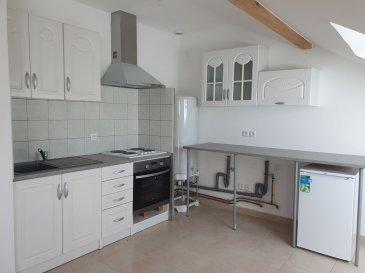 BELARDIMMO vous propose un appartement neuf de 65 m² situé à EVANGE (BREISTROFF-LA-GRANDE) dans un quartier très calme à 10 km de Mondorf-les-bains (LUXEMBOURG).   Cet appartement partiellement mansardée est composé de :  - 1 cuisine ouverte équipée donnant sur séjour - 1 grande salle de douche - 1 chambre - 1 place de parking extérieur  possibilité de branchement de machine à laver et sèche-linge dans l'appartement même.  L'appartement se trouve dans une petite résidence de 4 appartements. Il a été renouvelé récemment et n'a pas encore été habité.   L'appartement est disponible de suite.   Pour plus d'informations, veuillez nous contacter au  352 26 54 31 48 ou au  352 661572502.