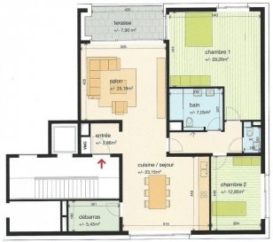 ENGLISH BELOW:  Homeseek vous propose un nouvel appartement, de +/- 119 m2, au 1er étage d'une résidence de 6 unités avec ascenseur, très bien située à Helmdange, à 300 m de la gare CFL (Lorentzweiler) et à 100 m de l'arrêt de bus RGTR.  L'appartement se compose comme suit: -1 grand living/salle à manger, -1 grande cuisine ouverte équipée,  -2 chambres: +/- 28 m2 et +/- 13 m2,  -1 salle de bain avec douche, double vasque, toilette et sèche-serviettes, -1 toilette séparée, -1 débarras, -1 balcon accessible depuis le living et depuis la grande chambre, et donnant sur verdure à l'arrière (côté ouest).  Une cave spacieuse de +/-12 m2 ainsi que 2 emplacements de parking (Carport intégré dans le bâtiment) viennent compléter ce bien.  Charges: 250 EUR/mois (à aligner après réception du premier décompte annuel), Caution: 3 mois de loyer, Frais d'agence: 1 mois de loyer + TVA, Animaux non admis, Disponible au 1er mai 2019.  Pour tout renseignement ou demande de visite, veuillez contacter Roxane au +352 691 243 295.   ENGLISH: Homeseek proposes you a new apartment, of +/- 119 Sqm, at 1st floor of a 6 units condominium with eleator, very well located in Helmdange, 300 m from the train station and 100 m from RGTR bus stop.  It is composed as follows: -1 spacious living/dining room, -1 large, open and fully equipped kitchen,  -2 bedrooms: +/- 28 Sqm and +/- 13 Sqm,  -1 bathroom with shower, double basin, toilet and  towel dryer, -1 seprated toilet, -1 storage room, -1 balcony with access from  the living and from the latgest bedroom overlooking the  greenery behind (West facing)   A large cellar of +/-12 Sqm as well as 2 parking slots (Carport integrated in the building) are also part of the rent.  Charges: 250 EUR/month (to be aligned after 1st year statement receipt), Deposit: 3 months rent, Agency fees: 1 month rent + VAT, Pets not allowed, Available on May-1st 2019.  For any enquiry or visit please contact Roxane at +352 691 243 295.  Ref agence :4920486_RV