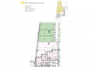 Votre agence IMMO LORENA de Pétange vous propose dans une résidence contemporaine en future construction de 13 unités sur 4 niveaux située à Rodange, 45 chemin de Brouck, Appartement 2 chambre, d'une Surface habitable 66,65 m2 se décomposant de la façon suivante: - Cuisine-salon-salle à manger de 30,35  m2 - 1 chambre de 14,31 m2 - 1 chambre de 9,35 m2 - Salle de bain de 4,25 m2 - Hall d'entrée de 4,08 m2, - 1 WC de 1,71 m2 - 1 Débarras de 1,36 m2  - Terrasse de 72,83 m2 - Pelouse privative de 81,53 m2 - 1 cave  - 1 emplacement voiture intérieur (25 000€) AU PRIX DE 541 040€  Cette résidence de performance énergétique AB construite selon les règles de l'art associe une qualité de haut standing à une construction traditionnelle luxembourgeoise, châssis en PVC triple vitrage, ventilation double flux, chauffage au sol, video - parlophone, système domotique, etc... Avec des pièces de vie aux beaux volumes et lumineuses grâce à de belles baies vitrées.  Ces biens constituent entres autre de par leur situation, un excellent investissement. Le prix comprend les garanties biennales et décennales et une TVA à 3%. Livraison prévue septembre 2021.  Pour tout contact: Joanna RICKAL +352 621 36 56 40 Vitor Pires: +352 691 761 110   L'agence ImmoLorena est à votre disposition pour toutes vos recherches ainsi que pour vos transactions LOCATIONS ET VENTES au Luxembourg, en France et en Belgique. Nous sommes également ouverts les samedis de 10h à 19h sans interruption. Demander plus d'informations