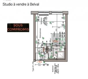Studio avec salle de douche wc cuisine parking et cave  Nous vous invitons à nous rendre visite ou contacter l'un de nos commerciaux pour plus d'informations.  M. Moura Jemp +352621216646  M. Marc Risch +352621210333  Les surfaces et superficies sont indicatives  Rejoignez-nous sur Facebook : Newjomar Belval