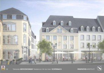 Futur projet QUARTIER MARCHE à proximité de la fameuse Place du Marché à ECHTERNACH. Appartement numéro 13 situé dans la Résidence MARQUISE, d`une surface habitable d`environ 100.50 m2 situé au troisième étage d`une Résidence prochainement en construction et se composant comme suit : Un hall d`entrée, un débarras, un W.C. séparé, une salle-de-bain, une chambre-à-coucher, une cuisine, un balcon de 12.25 m2, ainsi qu`une salle-à-manger  avec  living. Finitions haut de gamme. Prix TTC 3 %. Modifications encore possibles. Nous nous tenons bien évidemment à votre entière disposition pour toutes informations supplémentaires. ( Prix Hors T.V.A. ). Emplacement intérieur disponible moyennant supplément de prix