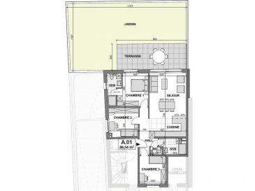 Nouvelle résidence de haut-standing.  Future construction d\'une résidence de 4 appartements à Luxembourg-Bonnevoie. Quartier très calme, prés du Hall Omnisports et arrêt de bus. La résidence ALAN TURING se trouve à 1, Rue Jean-François Gangler, L-1613 Luxembourg.      Classe énergétique AAA propose :   - App 106 m² surface habitable,   -3 chambres,   -ascenseur privé,   -jardin 82 m² ,   -terrasse 24 m², 1.221.000 tva 3%   - App 60 m² surface habitable,  -1 chambre au troisième étage,  -1 bureau ou possibilité de transformer en deuxième chambre, -1 ascenseur privé,   718.000 tva 3 %  Les prix affichés avec la TVA de 3%   (sous condition d\'acceptation de votre dossier par l\'administration de l\'enregistrement et des domaines).     Pour plus de renseignements ou une visite (visites également possibles le samedi sur rdv), veuillez contacter le 691 850 805. Ref agence : 513