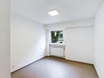 Lien à copier pour la visite virtuelle:<br>https://premium.giraffe360.com/remax-partners-luxembourg/af466f6fef794ffb89b3926bccf3c271/<br><br>RE/MAX spécialiste de l\'immobilier vous propose à la vente appartement complètement refait à neuf.<br>Description du bien: hall d\'entrée, <br>salle d\'eau avec lavabo, WC et douche italienne,<br>une chambre à coucher (séparée),<br>living avec accès petit balcon,<br>coin cuisine complètement équipée avec fenêtre.<br>A ce bien s\'ajoute une cave privative de 2m2.<br><br>L\'immeuble dispose d\'un ascenseur.<br>Fenêtre PVC double vitrage avec volets électriques, parlophone.<br><br>Charges: 180.- euros<br>Disponible de suite, pas de travaux à prévoir.<br>L\'appartement ne dispose pas de garage, parking public à proximité.<br>Situation centrale, proche de tous commerces.<br><br>Commission d\'agence à charge du vendeur.<br><br>Idéal 1er achat.<br>Personne de contact: Sonia Da Graca<br>Tel: 661 458 188<br>Mail: sonia.dagraca@remax.lu