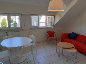 Dans le quartier de Bonnevoie, au 3ème étage, l'appartement se situe à deux pas de toutes commodités et du centre-ville. Le bien déploie une surface habitable de ±48m² et se compose comme suit :  Un hall d'entrée de ±6m² dessert un salon de ±14m², une chambre de ±12m², une cuisine de ±9m² munie d'un four, d'une hotte et d'une cuisinière vitrocéramique, ainsi qu'une salle de bain de ±6m² avec une baignoire, un lavabo, un sèche-serviette et un wc.  Une grenier est comprise dans la location.  L'appartement se trouve à proximité de la gare et de la piscine municipale de Bonnevoie.  Situation idéale proche de toutes commodités Doubles vitrages Loyer : 1550€/mois - Charges : 150€/mois – Garantie locative : 3 mois de loyer Frais d'agence : 1 mois de loyer + TVA 17%     Agent responsable : Pierre-Yves Béchet E-mail : Pierre-yves@vanmaurits.lu Tél : 00352 621 654 086