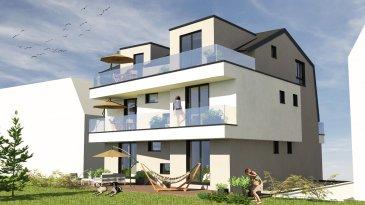 En vente nouvelle résidence disposant de 3 appartements lumineux et un penthouse.   Vous pouvez dès maintenant réserver votre appartement de rêve dans cette résidence !   Prix à partir de 369000€  - Appartement au Rez-de-Jardin (1 chambres) de 49.57 m2 avec grand jardin/terrasse de +/-50m2  - Appartement au Rez-de-Jardin (3 chambres) de 111.1 m2 (net habitable) avec grand jardin/terasse de 47.46m2 et un jardin privatif de 122m2 (côté plein SUD)   - Appartement au 1er étage (3 chambres) à 113.7 m2 (net habitable) avec deux grands balcons  de 11.4m2 et 20 m2 (côté plein SUD)  - Penthouse (2-3 chambres) à 101.3m2 (net habitable) avec grand balcons (20m2) (côté plein SUD)    Réservé !!!  Vente en futur état d'achèvement (VEFA)   Actuellement, il est encore possible de changer les dispositions des intérieurs des appartements, c'est-à-dire tailles des différents pièces ( living/ chambres/SBD/SDD) etc !!!   Les appartements/penthouses seront livrés 'clés en main'.   De nombreuses options et possibilités de personnalisation sont offertes pour chaque logement afin de permettre à chacun de définir l'ambiance, les couleurs ou encore les matériaux qui correspondent à ses envies.   L'ensemble de ces paramètres sont définis dans le cahier des charges de la construction, selon le type de logement envisagé.   Chaque lot dispose d'au moins une terrasse, d'un balcon et/ou d'un jardin privatif.   Spécifiés techniques :   - Ascenseur (privatif)  - Ventilation contrôlée double flux  - Chauffage au sol  - Châssis PVC Triple vitrage  - Stores électriques Raffstore  - Finitions haut de gamme   La résidence sera érigée près du Kräizbierg à Dudelange, à deux pas du centre-ville/école primaire/secondaire/centres commerciaux/parc Le'h et avec bon accès aux grands axes de circulation.   Acheter du neuf c'est avoir la garantie et la tranquillité pour des années.   Acheter dans cette résidence vous donne la possibilité d'intégrer vos idées/préférences dans votre futur logement !   Acheter directe
