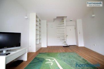 -- FR --  Homeseek Limpertsberg (691 262 005 ou 621 366 194) vous propose un très bel appartement-duplex, semi-meublé, très lumineux, rénové en 2010, de 2 chambres, 2 salles de bain, dans un environnement extrêmement calme et reposant, en pleine nature à deux pas de Luxembourg-ville. Petite copropriété de 6 unités. Disponible immédiatement.  Le duplex est configuré comme suit : - entrée par le rez-de-chaussée, escalier à vis vers la zone jour au rez-de-jardin, chambre, étagère et petite penderie, salle de bain en suite avec wc, - entrée par le rez-de-jardin, spacieux living ( /-24m2) et meubles bibliothèques, canapé, tapis, meuble bas et TV Sony, - cuisine ouverte ( /-17m2) équipée SIEMENS (réfrigérateur, congélateur 2 tiroirs, four électrique, lave-vaisselle, grande cave à vins, hotte, plaques vitrocéramique),  - grande salle de douche avec wc (rénovée en 2017), - chambre avec triple penderie, - emplacement dans la buanderie commune (lave-linge et sèche-linge), - placards de rangement à l'extérieur sous l'escalier des communs, - garage-box à l'extérieur et emplacements pour visiteurs.  Caractéristiques techniques : double-vitrage, volets manuels, chauffage au mazout.  Conditions financières : - loyer : 1750€ - avances sur charges : 300€ - caution : 2 mois de loyer - frais d'agence : 1 mois de loyer   TVA 17%  Pour de plus amples informations ou organisation de visites, veuillez appeler Patricia Bertino au  352 691 262 005 ou Fabienne Toussaint au  352 621 366 194. Référence agence : 4921834-HL-PB/FT  -- EN --  Homeseek Limpertsberg (691 262 005 or 621 366 194) is delighted to offer you a very nice duplex apartment, very bright, south exposure, renovated in 2010, semi-furnished, of 2 bedrooms and 2 bathrooms, in an exceptionally relaxing and quite environment, in the middle of nature, a few kilometers away from Luxembourg-city. Small condominium of 6 units. Immediately available.  It is laid out as follows : - entrance on the ground floor, small stairs downward to t