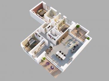 A vendre à Niederanven/Hostert un appartement au 1er étage d'une résidence de 5 unités avec ascenseur comprenant, un hall d'entrée, un séjour (52,69m2), une cuisine séparée (13,22m2), un débarras, trois chambres (24,02, 14,40 et 16,15m2), une salle de bain, une salle de douche, une toilette séparée, deux terrasses, une cave et deux parkings lifts.  Classe énergétique A-A. Panneaux solaires. Livraison milieu 2021.