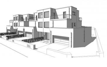 PROGETRA LUXEMBOURG VOUS PROPOSE A LA VENTE 4 MAISONS UNIFAMILIALES  , LIBRE DES 3 COTES À HUNCHERANHE (COMMUNE DE BETTEMBOURG)   UN BIEN CONTEMPORAIN ET ORIGINAL   Dans un écrin paysager, ces 4 maisons unifamiliales à l'architecture contemporaine bénéficieront de finitions luxueuses qui répondront à vos exigences, chacune d'elles se distingue par son originalité, sa luminosité  sur toutes les pièces  qui communiquent avec des espaces extérieurs/terrasses et jardin via de grandes baies vitrées, sa fonctionnalité, pionnière sur le plan des économies d'énergie avec ses panneaux solaires thermique, sa pompe à chaleur, sa ventilation double flux.., une installation de chauffage par le sol. Elle sera dotée également d'une alarme.  Chacune d'elle sera réalisée sur une surface globale de 403.68 m2 : Surface plancher de 300.93 m2 dont la surface habitable est de 207.52 m2  surface terrasses : 102.75 m2.  Elle se décompose comme suit : Le sous-sol abrite 2 grandes caves, 1 local technique Au rez de chaussée : 2 garages, 1 WC séparé, hall d'entrée, buanderie, cuisine et salon/séjour accès terrasse et jardin Au 1 er étage, 3 belles chambres accès terrasses comprenant 2 salles de bains/douche, WC séparé, un espace bureau. Au 2ème étage : suite parentale accès terrasse avec salle de bains/douche, WC séparé et espace bureau
