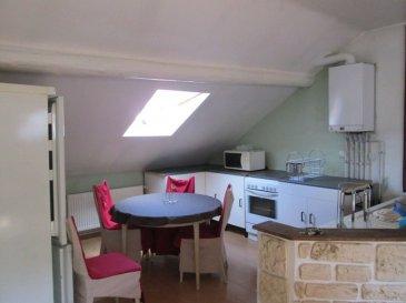 F3 MEUBLÉ  A ALGRANGE. Au 2ème et dernier étage d\'une petite copropriété, bel F3 meublé de 90m² au sol. séjour ouvert sur cuisine équipée, 2 chambres, spacieuse salle de bain avec baignoire d\'angle, cave . Chauffage au gaz. dont 12.26 % honoraires TTC à la charge de l\'acquéreur.