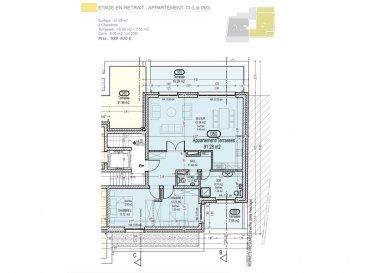 Votre agence IMMO LORENA de Pétange vous propose dans une résidence contemporaine en future construction de 13 unités sur 4 niveaux située à Rodange, 45 chemin de Brouck 1 appartement de 91.28 m2 au TROISIEME ET DERNIER ETAGE avec ascenseur décomposé de la façon suivante:  - Hall d'entrée de 11,44 m2 - Salle de bain de 8,31 m2 - Un WC sépare de 2,11 m2  - Cuisine ouverte et salon de 42,14 m2 donnant accès à la terrasse de 18,29 m2. - Une première chambre de 12,21 m2, une deuxième chambre de 13,12 m2 donnant accès à la terrasse de 7,55 m2. - Une cave privative, un emplacement pour lave-linge et sèche-linge au sous sol. Possibilité d'acquérir un emplacement intérieur (25.000 €) ou un garage fermé intérieur (35.000€).  Cette résidence de performance énergétique AB construite selon les règles de l'art associe une qualité de haut standing à une construction traditionnelle luxembourgeoise, châssis en PVC triple vitrage, ventilation double flux, chauffage au sol, video - parlophone, système domotique, etc... Avec des pièces de vie aux beaux volumes et lumineuses grâce à de belles baies vitrées.  Ces biens constituent entres autre de par leur situation, un excellent investissement. Le prix comprend les garanties biennales et décennales et une TVA à 3%. Livraison prévue septembre 2021.  3% du prix de vente à la charge de la partie venderesse + 17% TVA Pas de frais pour le futur acquéreur  Pour tout contact: Joanna RICKAL: 621 36 56 40  Vitor Pires: 691 761 110  Kevin Dos Santos: 691 318 013   L'agence ImmoLorena est à votre disposition pour toutes vos recherches ainsi que pour vos transactions LOCATIONS ET VENTES au Luxembourg, en France et en Belgique. Nous sommes également ouverts les samedis de 10h à 19h sans interruption. Demander plus d'informations