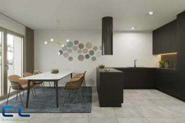 Nous vous proposons à la vente dans le nouveau projet  immobilier de standing « Place Benelux » : Une maison (01) de +/- 196,10 m2 qui se compose comme suit:  Au sous-sol : - Un box fermé avec accès privatif - une cave  Au rez-de-chaussée : - Deux jardins - Une grande terrasse avec un accès au jardin - Un WC séparé - Une cuisine ouverte - Un grand living  Au premier étage : - Une chambre à coucher - Une salle de bain - Une grande terrasse de +/- 48 m2 - Un grand living - Une terrasse de +/- 5 m2  Au deuxième étage : - Deux chambres à coucher - Deux salles de bain  Ce nouveau projet  à l\'architecture contemporaine est constitué de 5 maisons en bande, d\'une résidence de 6 appartements et d\'un local commercial.  Il est idéalement situé à la Place Benelux, dans le quartier résidentiel d\'Esch nord, quartier calme et accueillant, qui possède encore de petits magasins de proximité, d\'autres infrastructures (telles que piscine, école, crèches, hôpital \') ou services (poste, banques etc), se trouvent aussi dans ce quartier. Les transports en commun ainsi que l\'autoroute A 4 se trouvent à quelques mètres.  A 5 minutes en voiture du site Belval.  Les prix indiqués comprennent la TVA à hauteur de 3%, il y a la possibilité d\'acheter en supplément des emplacements de parking intérieurs.  N\'hésitez pas à nous contacter pour de plus amples renseignements, les plans et cahier de charges sont à votre disposition sur  simple demande.  Commission d\'agence comprise dans le prix à la charge du vendeur.   Ref agence : EACVB69-79-M1