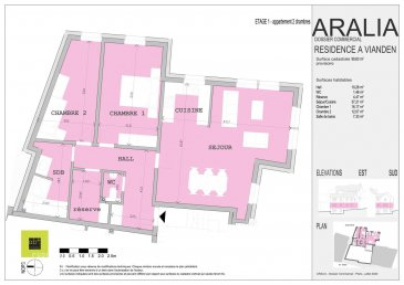 L\'agence immobilière Christine SIMON, vous présente en exclusivité cette nouvelle Résidence ARALIA qui sera implantée sur un terrain dans la Commune de VIANDEN, 95 GRAND-RUE.<br>Début de construction 2020 livraison 2022.<br>Passeport énergétique A-A<br>Construction matériaux haut de gamme.<br><br>Appartement de deux chambres à coucher 90.63 m2,<br>Il se compose comme suit:<br>Hall d\'entrée, wc séparé, séjour, cuisine ouverte, 2 chambres à coucher, salle de bain, débarras.<br>Une cave privative, local technique, local poubelle communs.<br><br>Pour de plus amples renseignements, un rendez-vous ou le cahier de charges et les plans, contactez l\'agence au numéro 265300301 ou 621 189 059 ou info@christinesimon.lu<br>