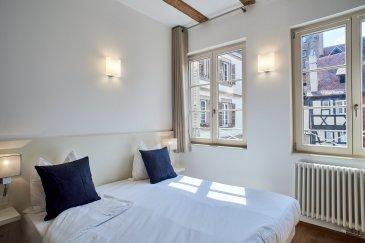Studio 1 pièce - 18.28 m2 - Strasbourg Hyper Centre Gutember.  **Exclusivité** Dans le centre ville de Strasbourg, à proximité de la place Gutemberg, des quais de Strasbourg, des commerces et des transports, nous proposons à la location un studio meublé, cosy et chaleureux, d'une surface de 18.28m2 situé au 2ème étage d'un bel immeuble alsacien. Cet appartement avec des prestations haut de gamme, se compose : d'une chambre avec poutres apparantes et parquet ancien donnant sur une rue calme. Incluant un bureau, une télévision, et des placards de rangement - d'un coin cuisine équipée d'une double plaque de cuisson et d'un réfrigérateur - d'un espace de douche avec douche à l'italienne, vasque et wc. Le chauffage, l'eau chaude/froide, l'électricité et le wifi sont inclus dans les charges. Loyer: 770EUR par mois charges comprises dont 130EUR de provisions pour charges avec régularisation annuelle. Dépot de garantie: 1280EUR Honorairs à la charge du locataire: 237.64EUR TTC dont 54.84EUR TTC inclus pour l'état des lieux. Disponible immédiatement - Location courte durée / Bail mobilité - Durée maximale 1 an