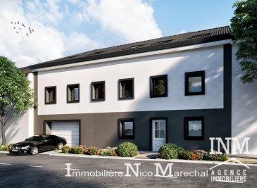 Joli appartement (Lot 001) neuf lumineux (de +/- 60 m2) dans une petite résidence offrant au: 1er étage: hall d'entrée, cuisine non équipée ouverte sur living/ salle à manger (de +/- 33 m2), 1 chambre à coucher (de +/- 14 m2), salle de douche (de +/- 7 m2); Rdch: cave privative, chaufferie, local vélos. Possibilité d'acquérir un emplacement intérieur un supplément de 26.000€ (HTVA) et un emplacement extérieur un supplément de 8.000€ (HTVA). Nospelt dans la commune de Kehlen profite à la fois du calme de la région et se trouve à environ 25 minutes de Luxembourg-Ville avec toutes les commodités quotidiennes. Le prix affiché s'entend HTVA sur la part constructions à réaliser. GARANTIE DECENNALE. Ref agence :882404