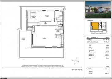 appartement T4 en attique composé d'une entrée,placards,d'un dégagement,séjour-cuisine de plus de 42M2,2 chambres.....