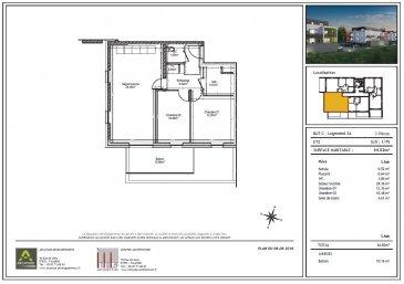 appartement T3 situé au  1er étage, composé d'une entrée avec placard,d'un dégagement,d'un séjour-cuisine  de  28m2,de 2 chambres,d'une salle de bain et d'WC séparé une grande terrasse de 20m2