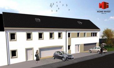 Spacieuse maison mitoyenne d'une surface habitable de +/- 195 m2 (surface totale de 391 m2) Ecopass: AA sur un terrain (lot 1) de +/- 4,21 ares prochainement en construction comprenant au:  Sous-sol: hall avec sortie au jardin, buanderie (de +/- 19 m2), 2 caves (de +/- 14 à 28 m2), salle technique;  Rdch: hall d'entrée (de +/- 12 m2), wc séparé, cuisine non équipée ouverte sur living/salle à manger de (+/- 48 m2) donnant sur un balcon; débarras (+/-4 m2), garage pour 2 voitures;  1er étage: hall de nuit, chambre à coucher parentale (de +/- 20 m2) avec dressing attenant (de +/- 5 m2) et salle de douche (de +/- 8 m2), 2 chambres à coucher (de +/- 17 à 22 m2), salle de bains (de +/- 12 m2), bureau (de +/- 12 m2);  Grenier aménageable de +/- 72 m2    Sur demande, il est possible d'adapter le projet selon vos envies et aménager par exemple les combles en surface habitable.   Oberpallen, dans la commune de Beckerich, profite à la fois du calme de la région ainsi que toutes les commodités de la commune   Le prix affiché s'entend HTVA sur la part constructions à réaliser.  GARANTIE DÉCENNALE. Ref agence :HI-1683