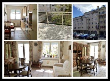Link pour la VISITE VIRTUELLE: https://tour.previsite.com/u/330329F7-A77E-53BF-0BD4-605628545A13  Très bel appartement lumineux au 2e étage avec balcon, ascenseur et parking intérieur, comprenant: - hall d'entrée avec espace vestiaire et parlophone - living-sàm avec balcon (8,3 m2) - cuisine équipée séparée - WC séparé - 2 chac dont une avec placard de rangement - sddouche avec WC et lavabo meublé - niche pour machine à laver et sèche-linge.  au sous-sol: cave privée, emplacement intérieur pour voiture.  L'appartement se trouve dans un état impeccable.  Situation calme avec balcon plein sud, à proximité du Centre, de la Gare, des écoles, etc...