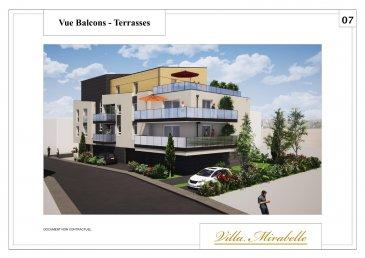 Un appartement T4 d'une surface de 87.40m2 avec une terrasses orienté Sud Ouest d'une surface 68,02m2. Possibilité d'avoir un garage fermé en RDC pour le prix de 10 000 € ou deux places de parkings pour le prix de 7000 € ( 5000 € l'unité ).