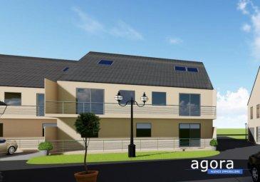 F 3 Terrasse Garage parking GRAND STANDING Cattenom-Sentzich à 15 mn de Thionville au calme dans un environnement verdoyant, A mi-chemin du Luxembourg, 5 résidences de 4 appartements F 3 de GRAND STANDING Offrant :  un hall d'entrée, une cuisine ouverte sur salon-séjour 26 m², accès à une spacieuse terrasse de 10 m² offrant une vue ouverte,  2 chambres de 11.5 et 10.20 m², une salle de bains de 5.5 m², larges ouvertures vitrées assurant un ensoleillement optimum. Très belles prestations dont : - porte sécurisée - vidéophone - double exposition - triple vitrage - volets électriques,  - chauffage poêle à pellet couplé avec convecteur électrique     d'appoint, - Ballon thermodynamique, radiateur sèche serviette, - Carrelage grés cérame, parquet dans les chambres,  - garage équipé d'une porte motorisée et parking.  Construction en terre cuite ' Isolation extérieure Prestations électriques et sanitaires de haute qualité  Prévision DPE : B livraison 2020, RT2012, FRAIS DE NOTAIRE RÉDUITS env. 2.5 %  A partir de 168 734 ' le F3 Honoraires à la charge du vendeur  POUR PLUS DE DÉTAILS,  CONSULTEZ-NOUS Agora Immobilier Thionville : 03 82 54 77 77