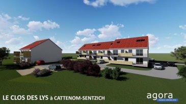 F3 Terrasse Garage parking GRAND STANDING- pour habiter ou investir  Cattenom-Sentzich à 15 mn de Thionville au calme dans un environnement verdoyant, A mi-chemin du Luxembourg, 4 résidences de 4 appartements F3 de GRAND STANDING Offrant :  un hall d'entrée, une cuisine ouverte sur salon-séjour 26 m², accès à une spacieuse terrasse de 10 m² offrant une vue ouverte,  2 chambres de 11.5 et 10.20 m², une salle de bains de 5.5 m², larges ouvertures vitrées assurant un ensoleillement optimum.  Très belles prestations dont : - porte sécurisée - vidéophone - double exposition - double vitrage - volets électriques,  - chauffage par le sol et poêle à pellet, - Ballon thermodynamique, radiateur sèche serviette, - Carrelage grès cérame, parquet dans les chambres,  - garage équipé d'une porte motorisée et parking.  Construction en terre cuite ' Isolation extérieure Prestations électriques et sanitaires de haute qualité  Prévision DPE : B livraison 2021, RT2012, FRAIS DE NOTAIRE RÉDUITS env. 2.5 %  A partir de 168 999 ' le F3 Honoraires à la charge du vendeur   ----------- Simulation investissement locatif  Pour un investisseur : location 780 ' mensuel ' Rentabilité 5.43 % ----------  POUR PLUS DE DÉTAILS, CONSULTEZ-NOUS  Agora Immobilier Thionville : 03 82 54 77 77