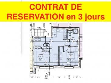 Votre agence IMMO LORENA de Pétange vous propose dans une résidence contemporaine en future construction de 13 unités sur 4 niveaux située à Rodange, 45 chemin de Brouck 1 appartement de 44.98 m2 au PREMIER ETAGE avec ascenseur décomposé de la façon suivante:  - Cuisine ouverte et salon de 27,74 m2  - Salle de bain de 4,25 m2  - Une chambre de 11,05 m2.  - Une cave privative et un emplacement pour lave-linge et sèche-linge au sous sol. Possibilité d'acquérir un emplacement intérieur (25.000 €) ou un garage fermé intérieur (35.000€).  Cette résidence de performance énergétique AB construite selon les règles de l'art associe une qualité de haut standing à une construction traditionnelle luxembourgeoise, châssis en PVC triple vitrage, ventilation double flux, chauffage au sol, video - parlophone, système domotique, etc... Avec des pièces de vie aux beaux volumes et lumineuses grâce à de belles baies vitrées.  Ces biens constituent entres autre de par leur situation, un excellent investissement. Le prix comprend les garanties biennales et décennales et une TVA à 3%. Livraison prévue septembre 2021.  Pour tout contact: Joanna RICKAL +352 621 36 56 40 Vitor Pires: +352 691 761 110   L'agence Immo Lorena est à votre disposition pour toutes vos recherches ainsi que pour vos transactions LOCATIONS ET VENTES au Luxembourg, en France et en Belgique. Nous sommes également ouverts les samedis de 10h à 19h sans interruption. Demander plus d'informations