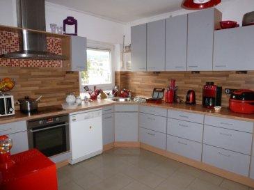 Appartement spacieux 125 m2, 3 chambres à coucher, grand salon (34 m2)  avec terrasse de 25 m2 mi- couverte, cuisine équipée,  débarras, garage pour 1 voiture et un grenier.