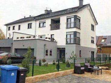 Très belle et moderne maison libre de trois côtés à Mertzig d'une surface habitable de +/- 275m2, nouvelle construction de 2015.  La maison se compose comme suit :  Au rez-de-chaussée : -Jardin -Garage pour deux voitures -Quatre emplacements devant la maison -Buanderie -Chaufferie -Débarras -Living  -Cuisine équipée indépendante -WC séparé -Jardin et terrasse accessible depuis la cuisine et le living  Au 1er étage : -4 chambres à coucher -Une salle de douche -       Terrasse de 30m2  Au deuxième étage : -Deux chambres à coucher -Studio avec living et cuisine équipée -       Salle de bain  Combles aménagés en petite suite parentale (chambre et dressing)  Pour tout complément d'information, n'hésitez pas à nous contactez par téléphone au 28 77 88 22, Nous sommes également disponibles pour organiser les visites le samedi !  Nous sommes, en permanence, à la recherche de nouveaux biens à vendre (des appartements, des maisons et des terrains à bâtir) pour nos clients acquéreurs. N'hésitez pas à nous contacter si vous souhaitez vendre ou échanger votre bien, nous vous ferons une estimation gratuitement.  Ref agence :63