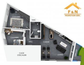 **** GARAGE AVEC 2 EMPLACEMENTS INTÉRIEUR INCLUS! ****  Bel appartement avec une surface habitable de +/-67.7m2, situé au 1er étage dans une nouvelle résidence de deux unités.  L'appartement se compose comme suit:  - Hall d'entrée / couloir (5.10m2) - Living avec cuisine ouverte (29.70m2) avec accès au terrasse et jardin privatif de 3 ares sur l'arrière  - 2 chambres à coucher (15m2 et 11m2) - Salle de bain (5.30m2) - Cave (5m2) - Buanderie commune - Garage / 2 emplacements intérieur (en bande) au rez-de-chaussée  *Disponibilité 2020 - clés en mains *Tarif exprimé TTC 3% sous réserve d'agrément.  *Garantie d'achèvement bancaire  -------  **** GARAGE MIT 2 STELLPLÄTZEN INBEGRIFFEN ****  Schöne Wohnung mit einer Wohnfläche von +/-67.7m2, auf dem ersten Stockwerk liegend, in einer neuen Wohnanlage von nur zwei Einheiten.  Die Wohnung setzt sich folgend zusammen: - Eingangshalle / Gang (5.10m2) - Wohnzimmer mit offener Küche (29.70m2) mit Zugang zur Terrasse und privatem Garten mit einer Fläche von 3 Ar (hinten liegend) - Zwei Schlafzimmer (15m2 und 11m2) - Badezimmer (5.30m2) - Keller (5m2) - Garagen mit zwei Stellplätzen (Länge) auf dem Erdgeschoss - Waschraum gemeinschaftlich  *Verfügbarkeit: 2020 - Schlüsselfertig *Aufgeführter Preis TTC 3%, vorbehaltlich der Genehmigung *Fertigstellungsgarantie vorhanden