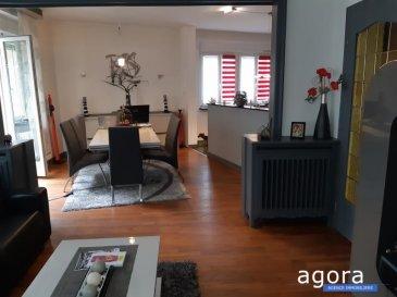 THIONVILLE ' F5 3 chambres 2 balcons, véranda, cave et garage,   Laissez-vous séduire par cet appartement F5 de 126.58 m² dans une petite copropriété bien entretenue au 1er étage offrant une cuisine équipée ouverte sur salon - séjour de 48 m² et doté d'un balcon, 3 chambres de 18, 15 et 10.5 m² dont 1 dotée de placard et d'un balcon privatif, 1 entrée avec rangement, 1 sdb et 1 sde, wc séparé et une véranda,  Le garage et la cave sont en accès direct de l'appartement. L'appartement est propre et en bon état.  Chauffage individuel gaz, Double vitrage Pvc, adoucisseur d'eau, Appartement lumineux, situé 3 mn du centre ville à pied,   Belle opportunité à 279 000 '  A propos de la copropriété :  La copropriété est composée de 12 appartements,  Charges mensuelles 140 ' - 12 lots  DPE : D  Honoraires à la charge du vendeur Agora Thionville : 03 82 54 77 77