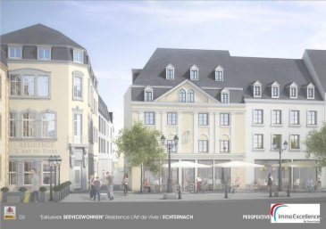 Futur projet QUARTIER MARCHE à proximité de la fameuse Place du Marché à ECHTERNACH. Appartement numéro 17 situé dans la Résidence L`ART DE VIVRE, d`une surface habitable d`environ 91.70 m2 et d`un balcon de 12.75 m2 situé au troisième et dernier étage d`une Résidence prochainement en construction et se composant comme suit : Un hall d`entrée,  une salle-de-bain, deux chambres-à-coucher, une cuisine ouverte avec salle-à-manger et living ainsi qu`un balcon de 12.75 m2. Finitions haut de gamme.  Modifications encore possibles. Nous nous tenons bien évidemment à votre entière disposition pour toutes informations supplémentaires. ( Prix Hors T.V.A. )<br />Ref agence :3373812