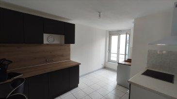 Beau duplex de type F3 situé en coeur de ville comprenant entrée avec placard, cuisine équipée ouverte sur vaste à pièce vivre, à l\'étage 2 chambres et salle de bains.