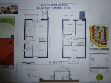 Au clos SAINT-MARTIN, la dernière maison disponible, Livraison prévue 2ème semestre 2021, Mitoyenne T5 d'un seul côté, RDC: entrée, dégagement, cuisine ouverte sur séjour, SDB avec w-c, 1 chambre, ETAGE: palier, w-c, SDB, 3 chambres. 2 places de parking privatives (NB: pas de garage). Sur 1.89 ares de terrain.