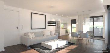 Appartement 3, de +ou- 68.87 m2 habitable avec un hall d'entrée desservant toutes les pièces, 2 chambres à coucher (+ou- 13.44m2 et +ou- 10.37m2), une salle de bains avec baignoire ou douche (au choix), lavabo et WC, une cuisine équipée ouverte sur le salon de +ou- 32.10 m2, deux terrasses de +ou- 4.47 m2 et +ou- de 3.01m2, un jardin privatif de +ou- 25.08m2 accessible directement depuis l'appartement par une passerelle de +ou- 4.02m2, une cave privative, et une buanderie commune.